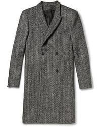 Abrigo largo de espiguilla gris