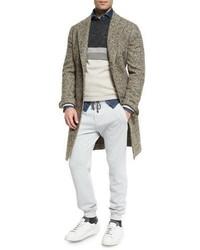 Abrigo largo de espiguilla gris de Brunello Cucinelli