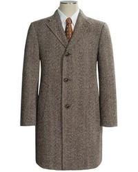 Abrigo largo de espiguilla marrón