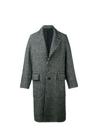 Abrigo largo de pata de gallo en negro y blanco de AMI Alexandre Mattiussi