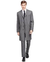 Abrigo largo de rayas verticales gris