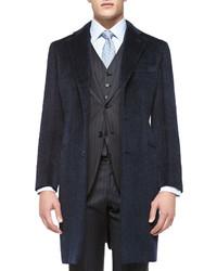 Abrigo largo de tartán azul marino de Brioni