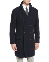 Abrigo largo de tartán azul marino de Brunello Cucinelli