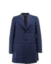 Abrigo largo de tartán azul marino de Comme Des Garcons Homme Plus