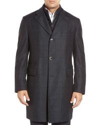 Abrigo largo de tartán en gris oscuro de Corneliani