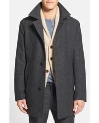 Abrigo largo de tartán en gris oscuro de Hugo Boss