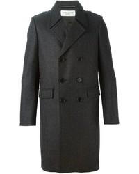 Abrigo largo de tartán en gris oscuro de Saint Laurent