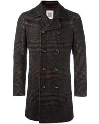 Abrigo largo de tartán en marrón oscuro