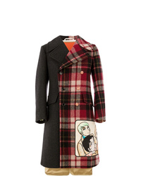 Abrigo largo de tartán en multicolor de Gucci