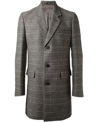 Abrigo largo de tartán gris