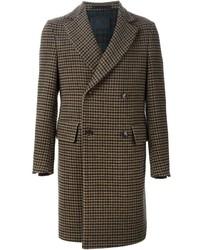 Abrigo largo de tartán marrón