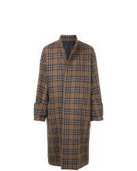 Abrigo largo de tartán marrón de Wooyoungmi