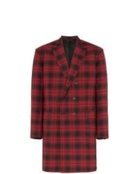 Abrigo largo de tartán rojo