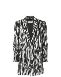 Abrigo largo en negro y blanco de Saint Laurent