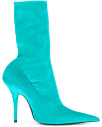 Balenciaga Blue Velvet Knife 120 Sock Boots