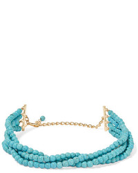 Gold plated beaded necklace turquoise medium 3701076