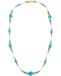 Long reconstituted turquoise beaded necklace medium 675612