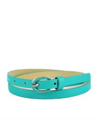 Neiman Marcus Enamel Buckle Skinny Belt Turquoise