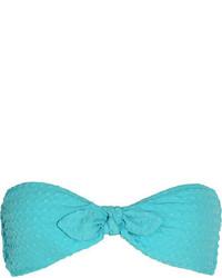 Heidi Klein Santa Barbara Seersucker Bandeau Bikini Top Turquoise