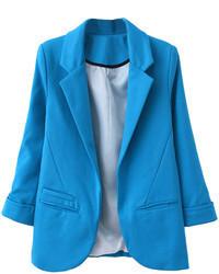 Choies Slim Lapel Blazer In Blue