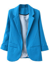 Choies Slim Lapel Blazer In Blue
