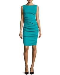 Nicole Miller Artelier Sleeveless Ruched Linen Blend Dress Aquamarine