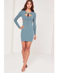 Missguided Zip Front Cut Out Bodycon Dress Blue
