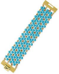 Diane von Furstenberg Honey Beaded Bracelet Turquoise