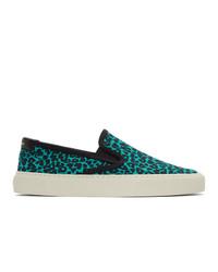Saint Laurent Blue And Black Leopard Venice Slip On Sneakers