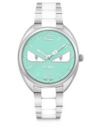 Fendi Moto Bug Diamond Stainless Steel Turquoise Ceramic Bracelet Watch