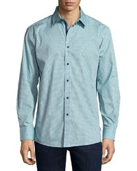 English Laundry Check Button Front Sport Shirt Teal
