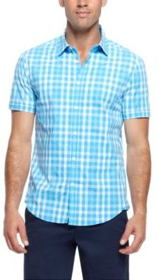 691783f9c ... Hugo Boss Bastiano Regular Fit Short Sleeved Stretch Cotton Check Print  Button Down Shirt