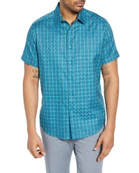 484f42ced Aquamarine Check Short Sleeve Shirts for Men | Men's Fashion ...