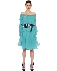 Alberta Ferretti Off The Shoulder Silk Chiffon Dress