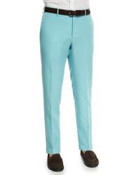 Chinolino linen blend trousers aqua medium 610411
