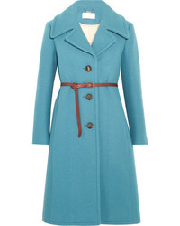 Chloé Iconic Belted Wool Blend Coat Blue