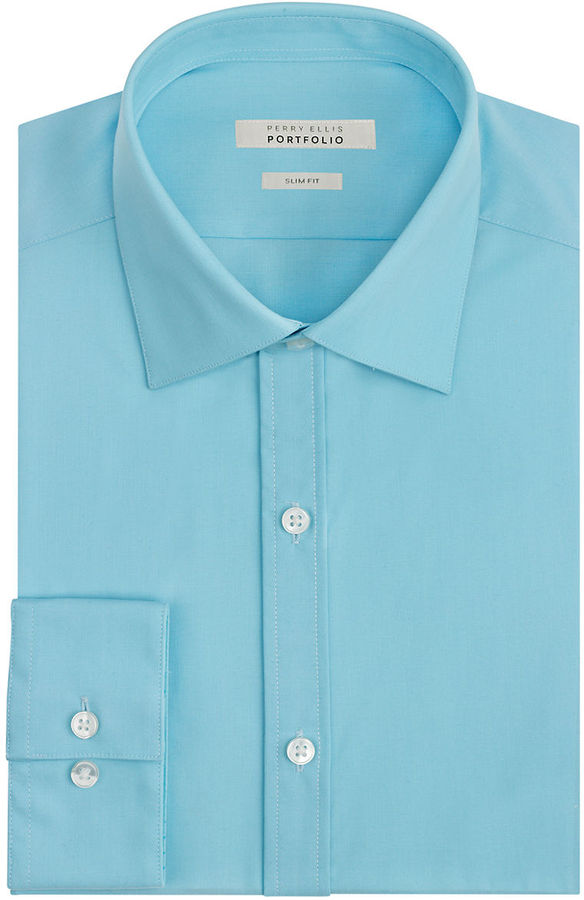 Perry ellis slim fit non iron dress shirt where to buy for Slim fit non iron dress shirts