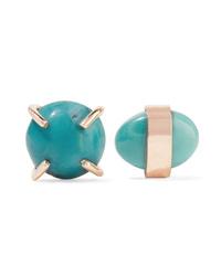 Melissa Joy Manning 14 Karat Gold Turquoise Earrings