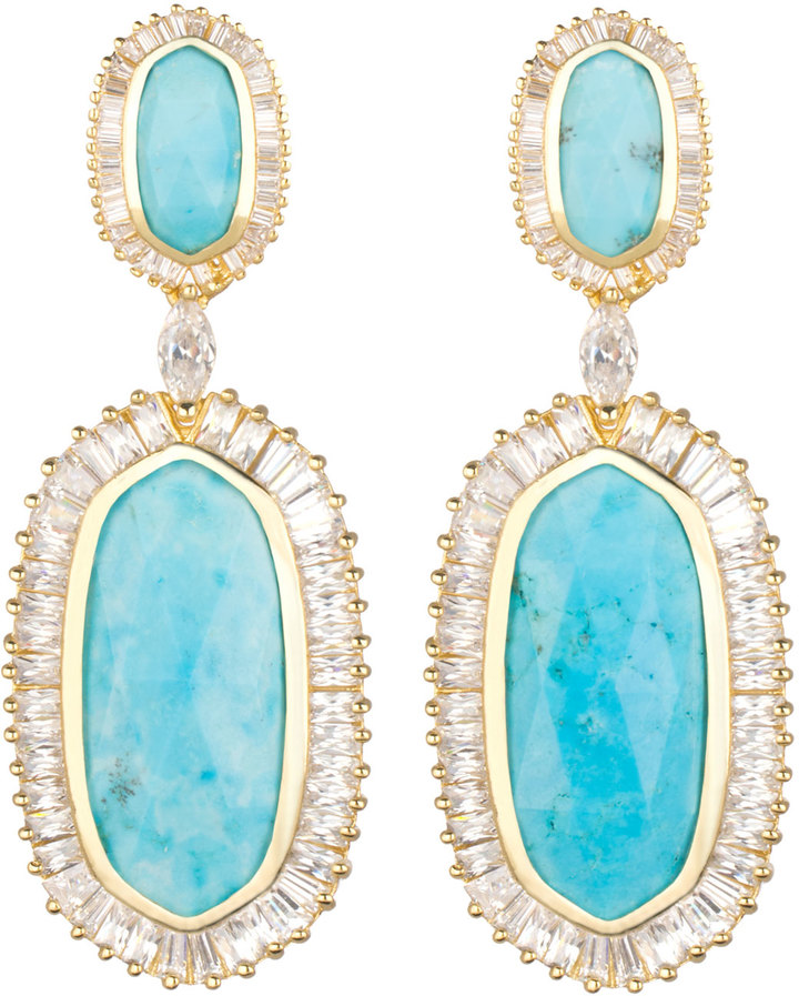 Kendra Scott Baguette Trim Oval Drop Earrings Turquoise