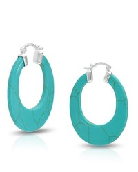 Bling Jewelry 925 Sterling Silver Oval Turquoise Gemstone Hoop Earrings