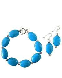 FashionJewelryForEveryone Turquoise Oval Beads Bracelet Earrings Silver Beads Spacer Bracelet