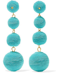 Kenneth Jay Lane Gold Plated Cord Earrings Turquoise