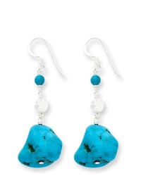 goldia Sterling Silver Turquoisecrackle Crystal Earrings