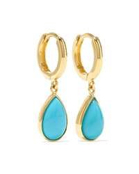 Jennifer Meyer Huggies 18 Karat Gold Turquoise Earrings