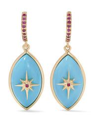 Marlo Laz Micro Eyecon 14 Karat Gold Turquoise And Ruby Earrings