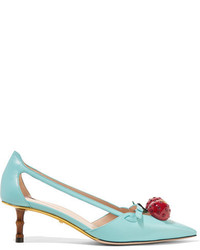 Gucci Embellished Leather Pumps Turquoise