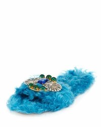 Miu Miu Crystal Faux Shearling Slide Sandal Turchese