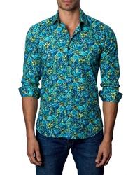 Aquamarine Floral Linen Long Sleeve Shirt