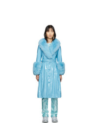 Saks Potts Blue Shearling Foxy Gloss Coat