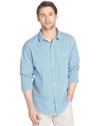 Jachs Blue And White Textured Gingham Check Cotton Long Sleeve Shirt